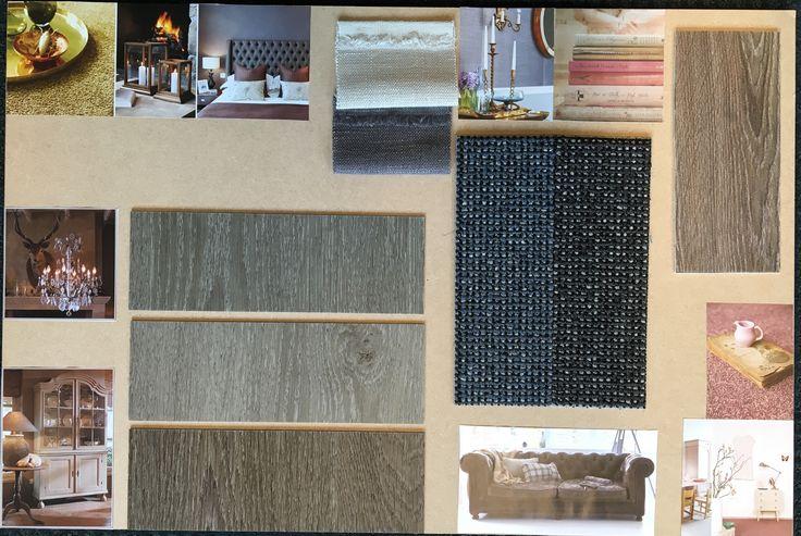 Moodboard en materiaalmonsters. Te zien in onze verkoopruimte.