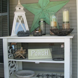 Great summer porch idea, old broken dresser, take out draws, and take off back. This is too cute.