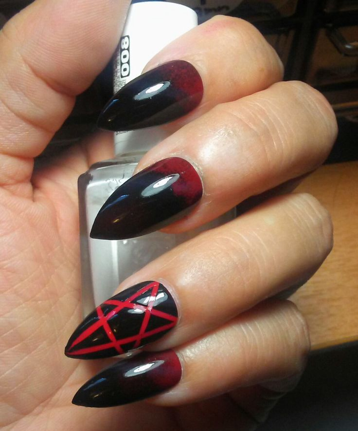 Gothic Black/Red Stiletto Pentagram Nails - False Nails - Fake Goth Acrylic Nails - Press/Glue on Sexy Witchy Claws - Also Coffin/Oval/Matte by RitualNailDesigns on Etsy https://www.etsy.com/listing/475275129/gothic-blackred-stiletto-pentagram-nails