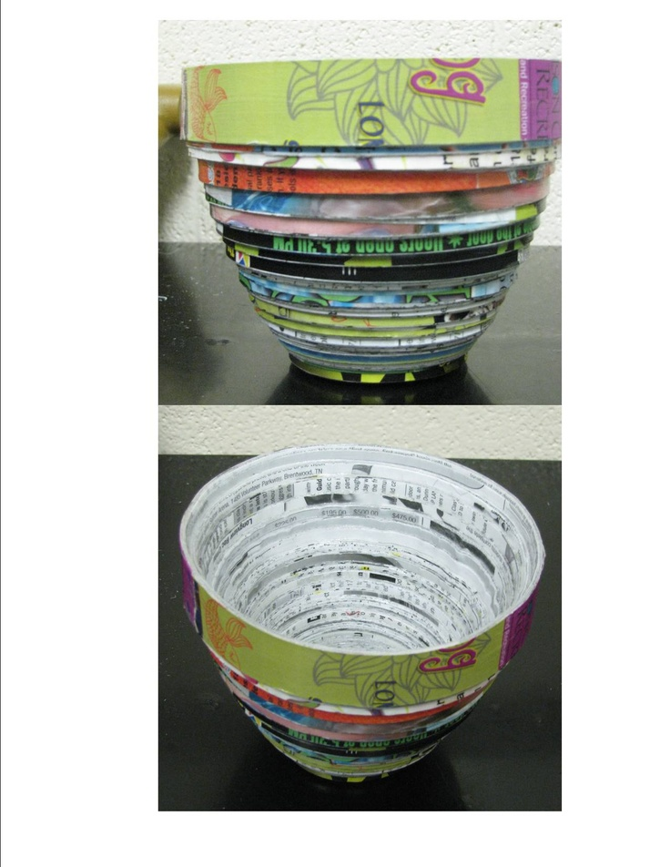 Recycle old magazines to make a funky colorful bowl ...
