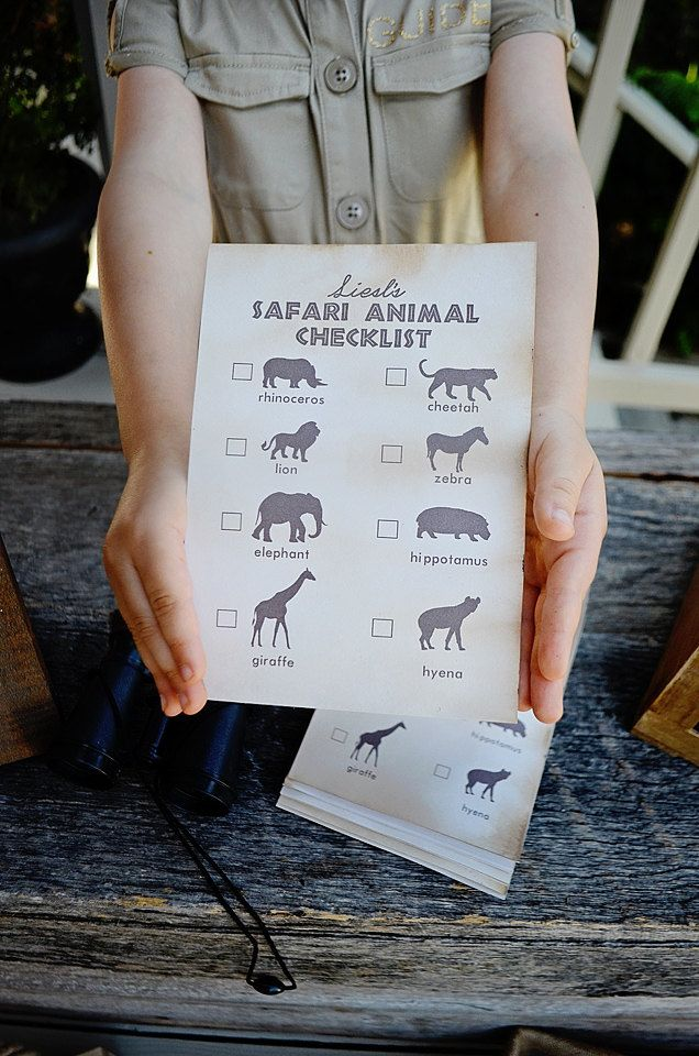 "Modern Safari Party - Animal Safari Checklist - 5""x7"" INSTANT DOWNLOAD PDF Printable, Safari Expedition, Scavenger Hunt, by EmilyEntertains on Etsy"