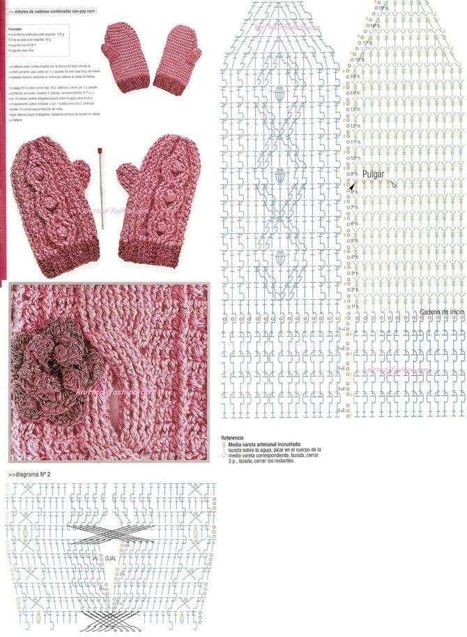 Вязание крючком схемы.варежки