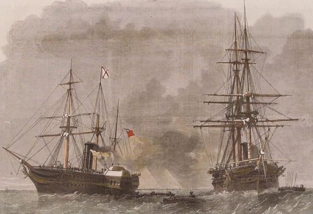 Seizure at Sea: The Trent Affair: USS San Jacinto stops RMS Trent.