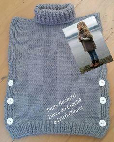 Poncho Infantil, tricotado no fio mollet Poncho Infantil em Tricô Material e Receita 06 novelos de lã mollet de 100 gramas 01 agulha de número 6 01 agulha de...