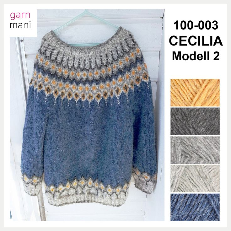 Cecilia is knitted in Lettlopi - designed by Tove Richter for Garnmani, the pattern or knitting kit for sale at www.garnmani.no in norwegian or english.