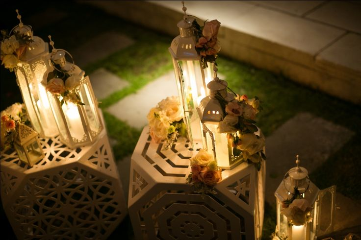 Lanterns glowing at the night