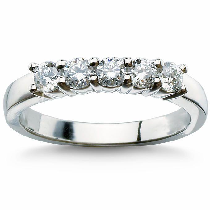 Round Brilliant 0.50 ctw VS2 Clarity, I Color Diamond Platinum Five Stone Ring