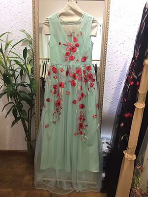 Runway Designer Maxi Dress Women's Elegant Sleeveless Vintage Noble Floral Embroidery Long Dress - Sky Blue, M Like if you are Excited! Get it here