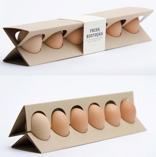Empaque de huevo, diseño de Otillia Erdelyi.  El reto: usar la menor cantidad de material