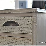 Decoupaged drawers with vintage dictionary pages.  Did this on Paige's desk.  Really like it.