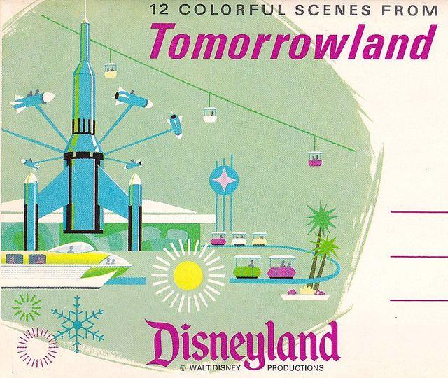 https://flic.kr/p/82nuuZ | Disneyland Tomorrowland Postcard Folder 1960s | Bring back the Peoplemover! And the buckets!!!