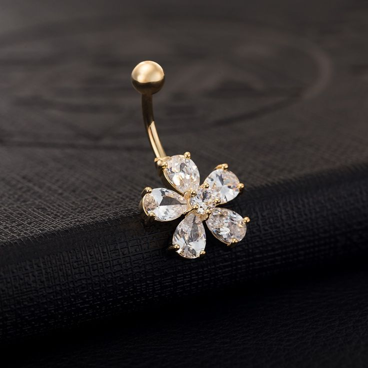 Hot Sale High Quality  Gold Plated Flower Crystal Flower Bar Bell Button Rings Women Piercing Navel Body Jewelry