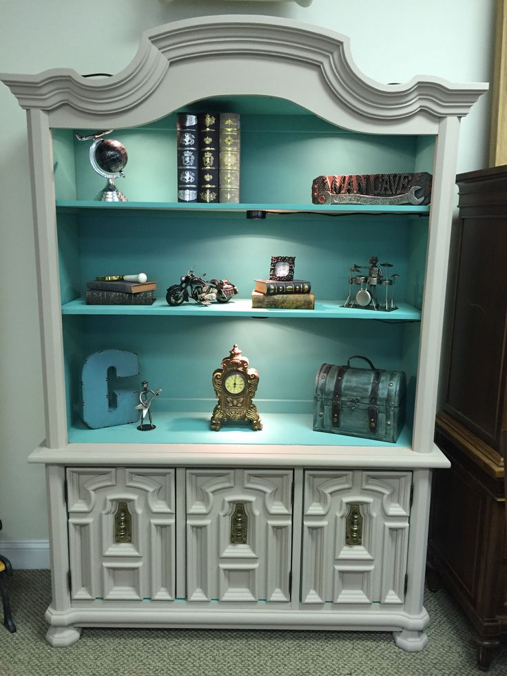 Bookcase with a pop of color