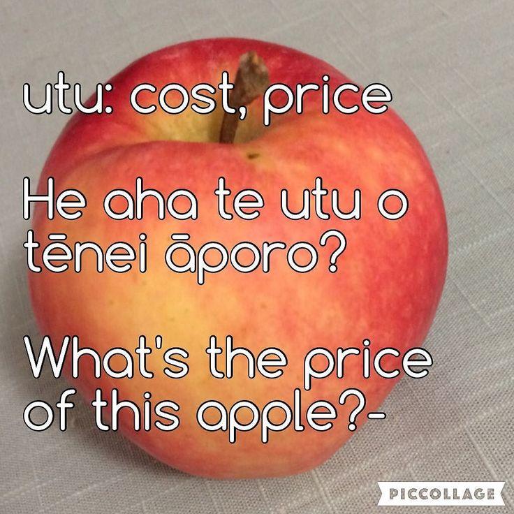 utu: cost price He aha te utu o tēnei āporo? What's the price ofthis apple?- #Māori #tereo #languagelearning #apple Kupu: kaitiaki@kupu.maori.nz