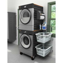 Stacking your washer dryers saves space.