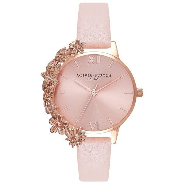 Olivia Burton Case Cuff Watch - Nude Peach & Rose Gold ($145) ❤ liked on Polyvore featuring jewelry, watches, quartz movement watches, rose gold jewellery, etched jewelry, cuff watches and olivia burton