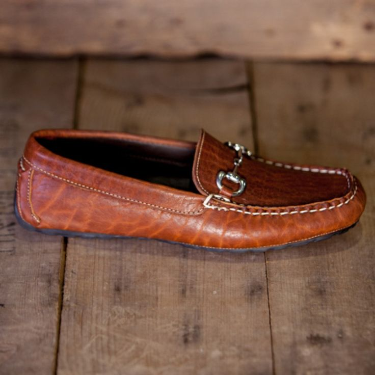 Men's Bison Leather Horse Bit Loafers - Tumbled Bison