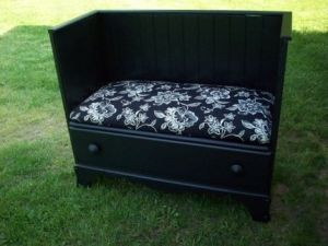 Benches made from old dressers, headboards and chairs.