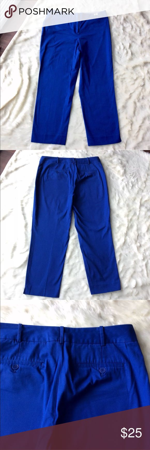 """Talbots Blue Dress Cropped Capri Pants Curvy Fit This pair of Talbots dress Capri pants are in great, preloved condition. They are a size 10, and still have plenty of life left. These have been dry cleaned! They still have the dry cleaning tag. They are blue and are a curvy fit. Perfect for any and all occasions! Measurements are as follows: Waist: 16 1/2"""" Height: 36"""" Inseam: 26"""" Talbots Pants"""
