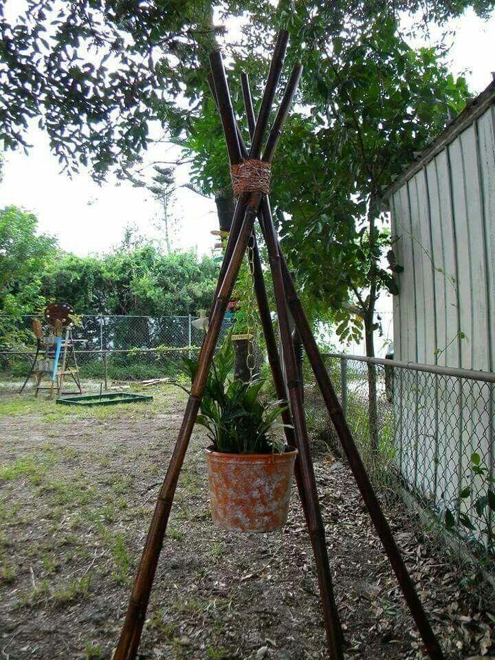 Bamboo teepee planter