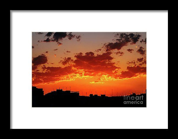 Beautiful Summer Sunset Over Valencia City Skyline Silhouette Framed Print