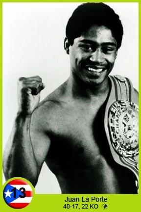 Juan La Porte was born in Guayama, Puerto Rico on November 24, 1959. At an early age moved to New York City where he became a boxer. He began his career in 1977 with a knockout in the first assault, but met defeat in his fifth fight. After 16 matches and 15-1 mark holder an opportunity to get to the gates of Puerto Rico in 1980. The opportunity was to champion featherweight World Boxing Commission, the Mexican Salvador Sanchez. La Porte was a good fight, but was largely dominated by Sanchez.