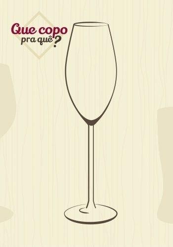 Taça espumante: a taça para espumante tem a haste longa, para evitar que a temperatura da mão aqueça a bebida. O formato longo e a boca estreita garantem a permanência dos aromas e da 'perlage', ou seja, das borbulhas formadas pelo gás carbônico