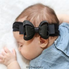 Baby Black Headband Black Big Bow Headband Baby by BySophiaBaby