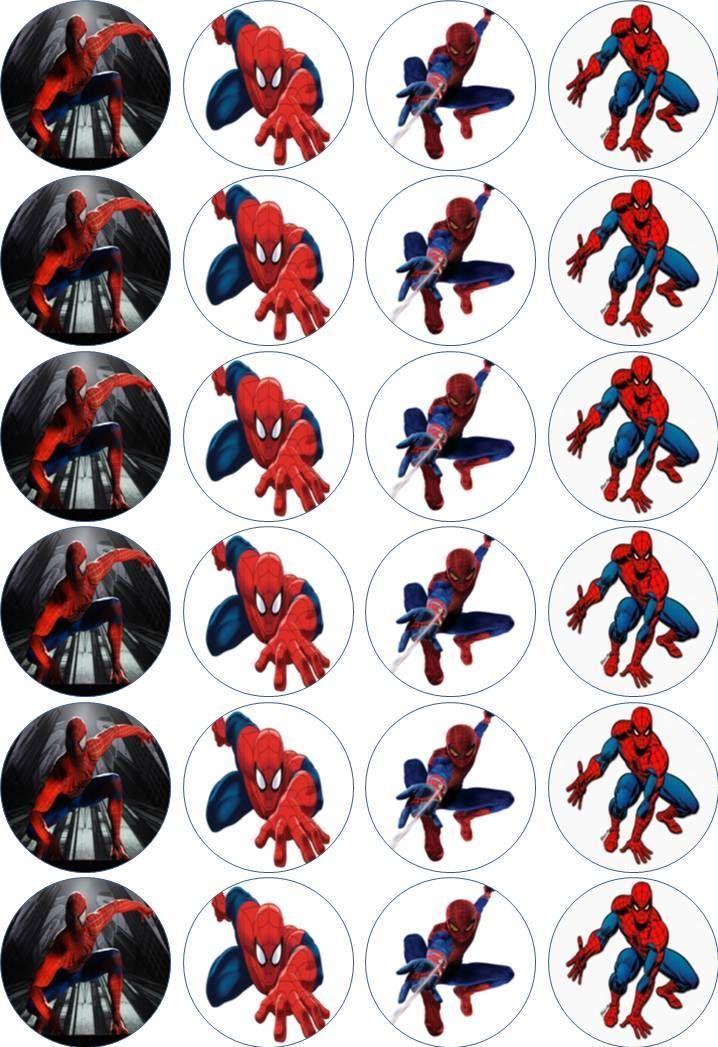 24 x 4.5cm SPIDERMAN EDIBLE RICE/WAFER PAPER CUPCAKE TOPPERS   eBay