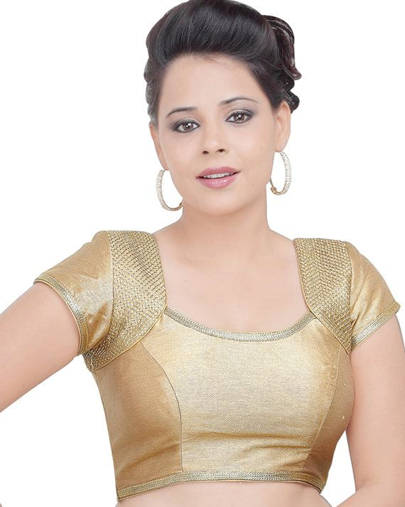 Gold Brocade Readymade Partywear Saree Blouse by SarisAndThings, $79.00