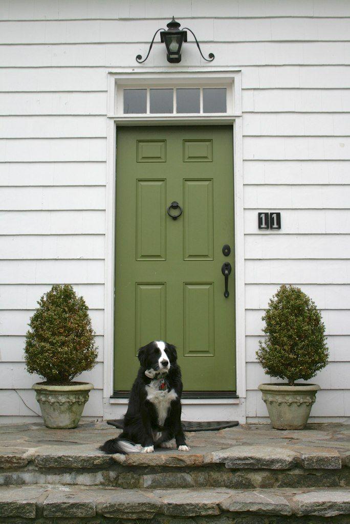 Green front door in Westport, Connecticut.