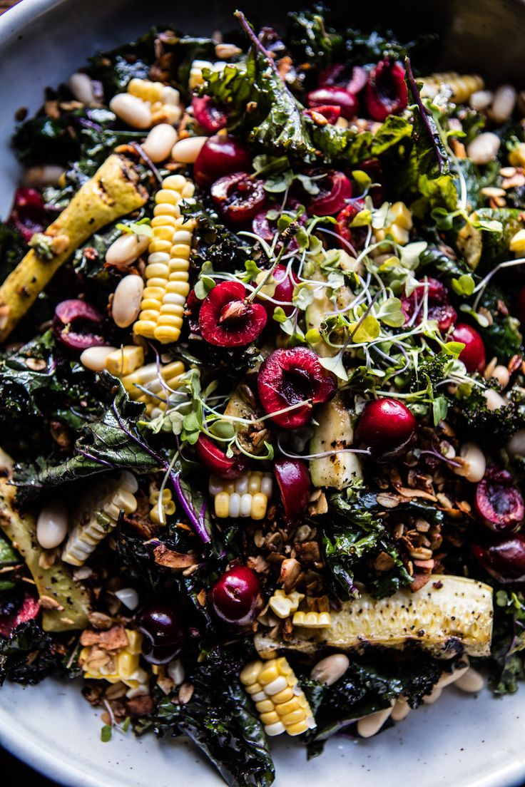 Sunflower Seed, Kale and Cherry Salad with Savory Granola | halfbakedharvest.com…