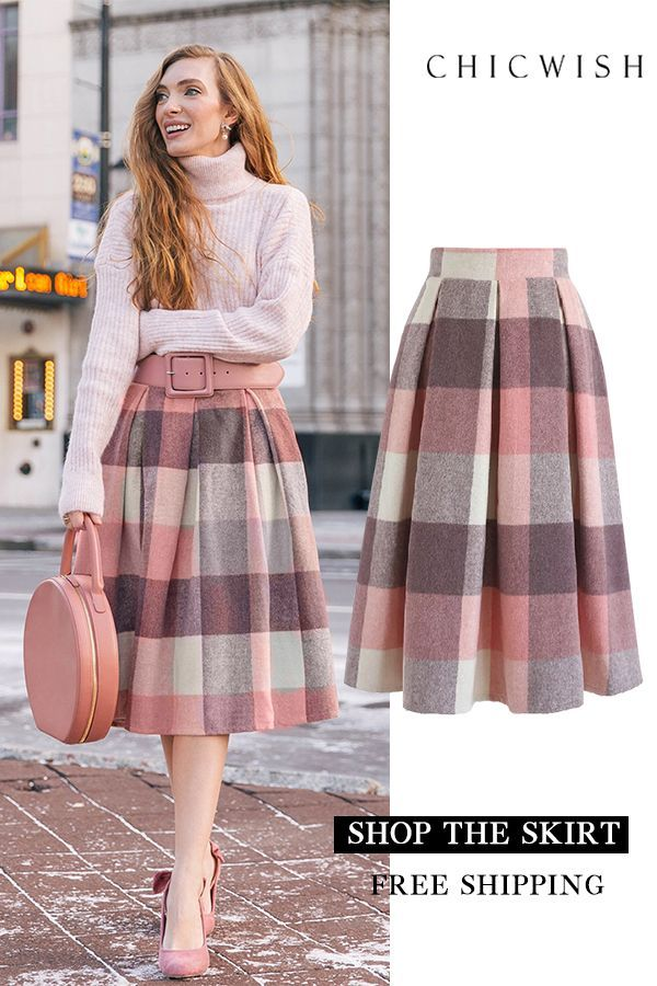 Check Wool-Blend Midi Skirt