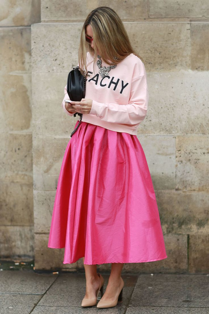 Pink on pink. #streetstyle at Paris Fashion Week Fall 2014 #PFW