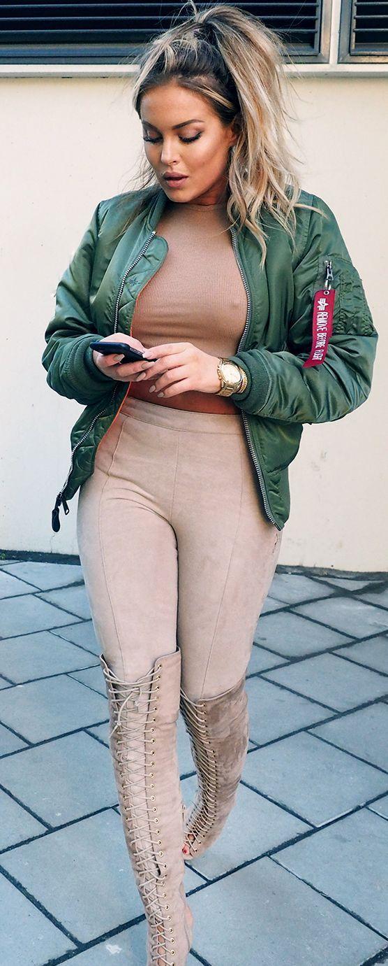 Fanny Lyckman Green Bomber Jacket On Blush Fall Street Style Inspo #Fashionistas