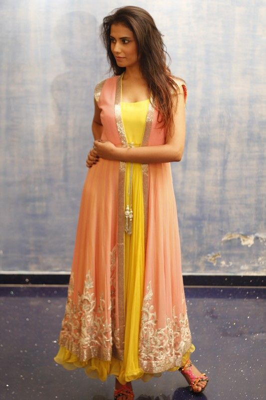 Monsoon – Light Orange and Yellow Anarkali | CityShor Store