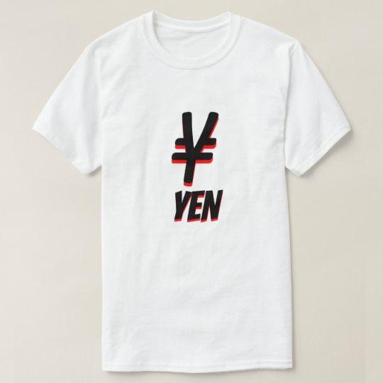 ¥ 円 Japanese yen white T-Shirt The symbol for Japanese yen (¥) with black and red colour and with the word won under it, the currency of Japan. This white coloured T-Shirt can be customised to give it you own unique look.