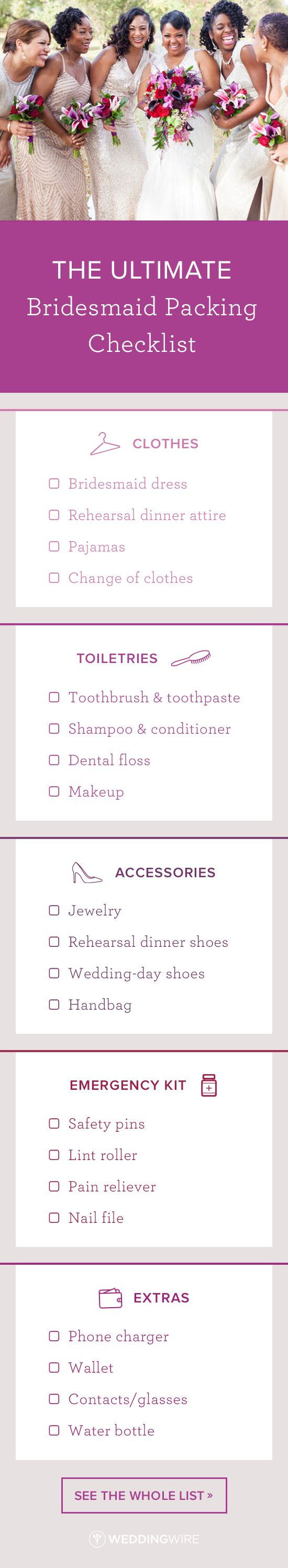 The Ultimate Bridesmaid Packing Checklist - In an upcoming wedding? Find out what wedding weekend essentials you should pack on @weddingwire! {Angie McPherson Photography}