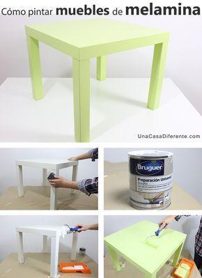 ¿Quieres pintar muebles de melamina y no te atreves o no sabes qué tipo de pintura usar? Si tus muebles de melamina (cocina, salón, dormitorio…) necesitan un cambio de aspecto, se pueden pintar aplicando una capa de preparación (imprimación) para que la pintura tenga mejor adherencia, ya que la melamina sin lijar ni tratar no es una buena superficie para aplicar pintura directamente. Cómo pintar muebles de melamina Ikea (antes y después): Esta era la mesa Lack de Ikea antes y después de ser…