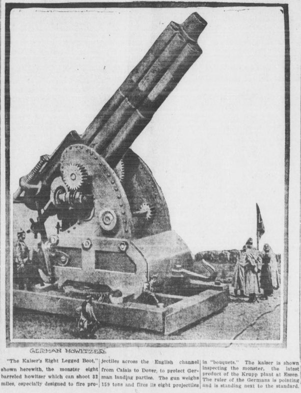 "WWI covered live on Twitter: ""July 9 1915 Kaiser inspects latest #Krupp monster gun that can shoot 32 miles http://t.co/l8I0HCY0XC #ww1centenary http://t.co/oukpOzgwHt"""
