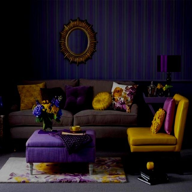 Purple And Yellow Living Room Design Color Scheme, Purple Wallpaper With  Stripes, Purple And Yellow Furniture Upholstery. Part 25