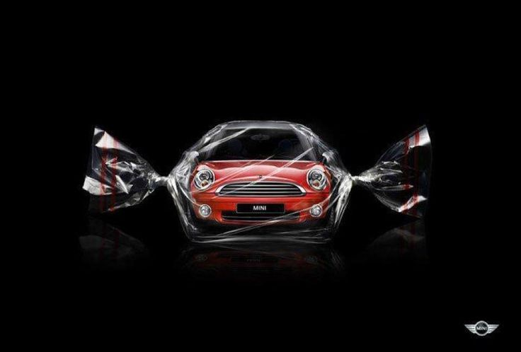 """Mini Cooper ad """"Eye Candy"""".  Got that right.  Minis are some hot looking pieces of car if you ask me."""