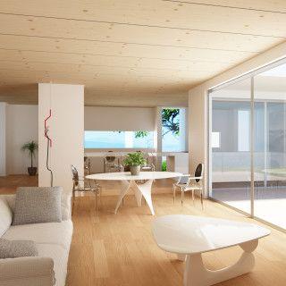 Interni di una casa in legno