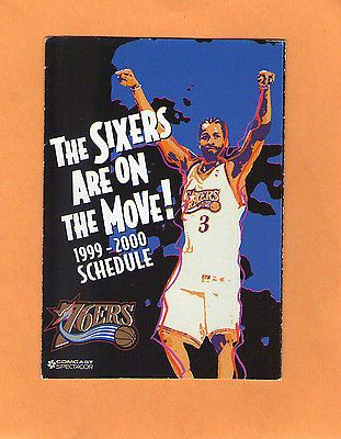 1999-2000 NBA BASKETBALL PHILADELPHIA 76ERS GAME POCKET SCHEDULE