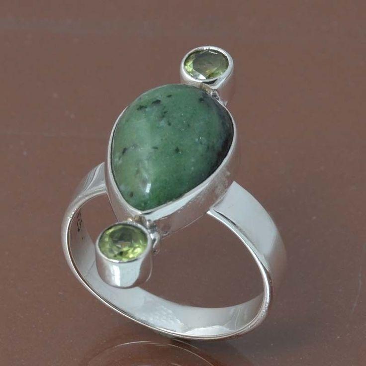 RUBY ZOSITE & PERIDOT 925 STERLING SILVER RING JEWELRY 5.13g DJR7049 SIZE 7 #Handmade #Ring