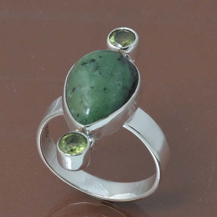 RUBY ZOSITE & PERIDOT 925 STERLING SILVER RING JEWELRY 5.13g DJR7049 SIZE 7 #Handmade #Ring