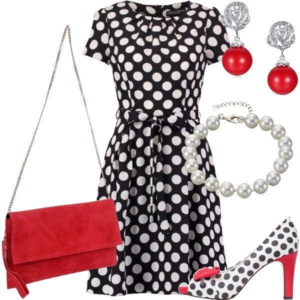 Total+look+che+vede+al+centro+dell'attenzione+un+abito+in+saldo+con+maniche+corte,+scollo+tondo+e+cintura+da+annodare+in+vita+in+nero+con+pois+bianchi.+Le+scarpe+sono+décolleté+spuntate+bianche+con+pois+neri+e+dettagli+in+rosso+come+il+fiocco+decorativo+e+il+tacco+mentre+la+borsa+è+una+pochette+in+pelle+scamosciata+rossa+e+catena+argentata.+Gli+accessori+che+completano+il+look+sono+un+paio+di+orecchini+con+perla+rossa+e+un+braccialetto+placcato+argento+con+perle+bianche.