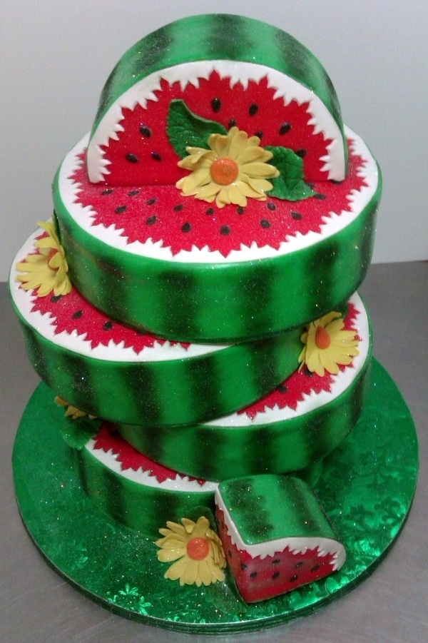 Watermelon Lovers Celebration Cake.  Picture and story here:  http://cakecentral.com/gallery/2360437/watermelon-lovers-celebration-cake