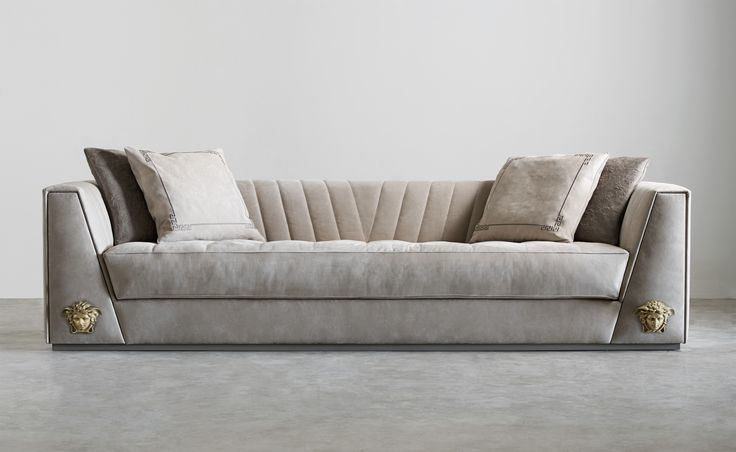At the heart of the new range is the Via Gesù sofa, defined by the V of Versace from the sloping angle of its arms to the quilting of its back in velvet-like Nubuck leather. The arms, which both contain secret drawers, are each highlighted by the Medusa head at the base. #VersaceHome