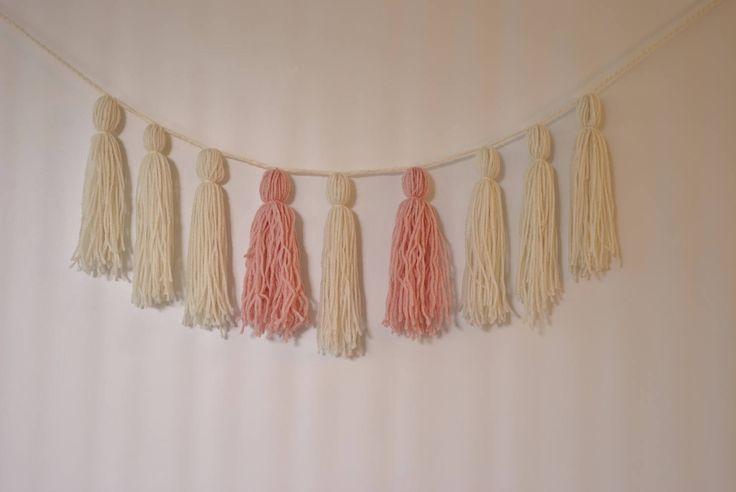 Ivory and peachy pink yarn tassel garland, tassel banner, boho yarn tassel wallhanging, nursery garland, nursery decor, bohemian wall art by pamelasunshinedesign on Etsy